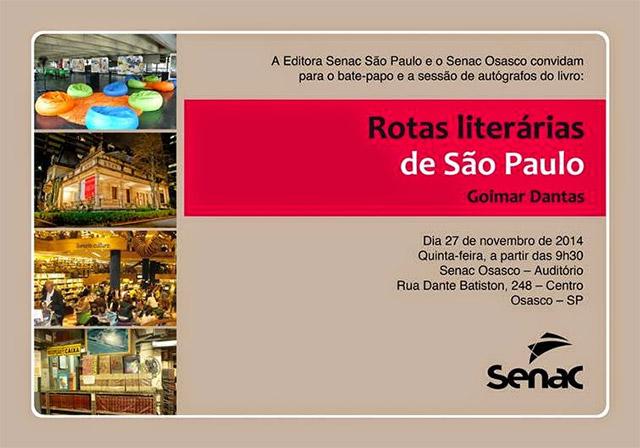 Lançamento Rotas literárias de São Paulo no Senac Osasco